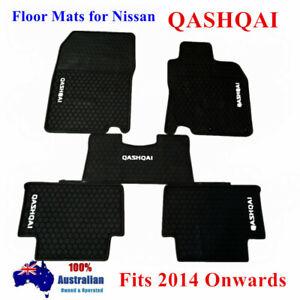 Black Waterproof Rubber Floor Mats for Nissan QASHQAI 06/2014 - 2021 Current