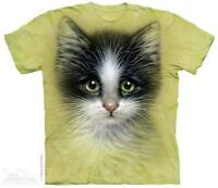 WOMEN'S T-SHIRT GREEN EYED KITTEN STONEWASHED MULTICOLORED SIZE MEDIUM