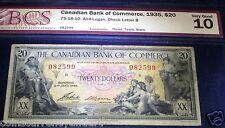 SEAMAIDENS & MYTHOLOGY SCARCER BANKNOTE .$20 1935 Canadian Bank of Commerce