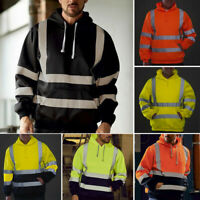 Men Road Work High VisibilityPullover Long Sleeve Hooded Sweatshirt Top Blouse