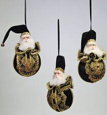 Katherine's Collection Set Of 3 Black & Gold Santa Christmas Ball Ornaments  NEW