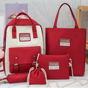 5 Piece Set School Bags for Teenage Girls Canvas Travel Backpack Student