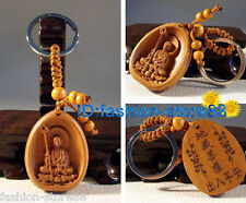 New! Classical carved wooden Lucky Tibet Buddha statue Key chain keyring