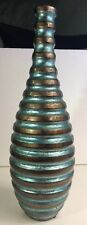 A1 Blue & Brown Ceramic Spiral Vase China Made Skinny Neck 18� Tall Floral Decor