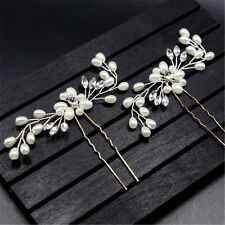 Vintage Wedding Bridal Pearl Flower Crystal Hair Pin Bridesmaid Clip Side Comb A