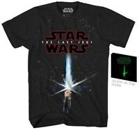 Star Wars The Last Jedi Movie Lightsaber Rey Luke Adult Men's Graphic Tshirt Tee