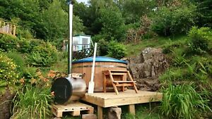 FIBER GLASS LINED EXTERNAL STOVE WOODEN HOT TUB - WOOD FIRED HOT TUB