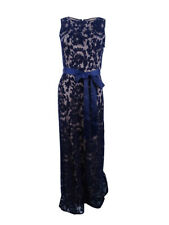 Adrianna Papell Women's Sleeveless Lace Gown (4, Navy/Nude)