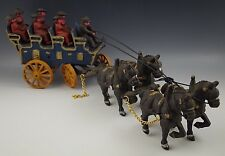 CAST IRON 6 SEAT BREAK COACH CARRIAGE 4 HORSE DRAWN WAGON AND BEAR TOY 19''