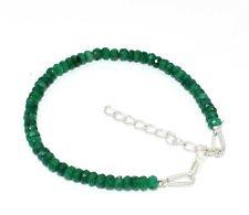 "Natural Corundum Emerald Gemstone 3-4 MM Rondelle Faceted 7"" Beaded Bracelet"