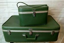 Feather Lite Retro Vintage Green Suitcase and Cosmetic Train Case Set