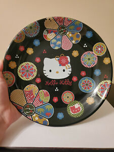 Sanrio Hello Kitty 2000 black ceramic dinner plate