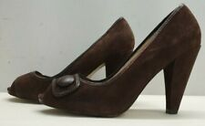 ladies womens AUTOGRAPH brown suede peeptoes shoes Size UK 6.5 EU 40 wider fit