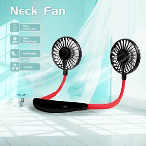 Portable Neck Hanging Fan Sport Lazy Dual Cooling Neckband Fan USB Rechargeable