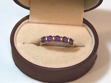 Amethyst 5 stone Band sz 9.5 Ring 10h29 Uk Hallmarked Qvc 9c Y Gold 375 Violet