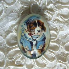 Vtg Sailor Dog & Pipe 30X40mm Glitter Unset Handmade Glass Art Bubble Cameo Cab