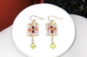 [Caged] Tanzanite, Garnet  &  Fire Opal Earrings