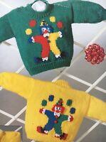 Knitting Pattern Clown Motif Sweater Jumper Cardigan Children's 18 - 22in DK