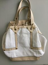 VERSACE TAN LEATHER WHITE STRAW FABRIC LARGE TOTE HANDBAG LUCITE MEDALLION PURSE