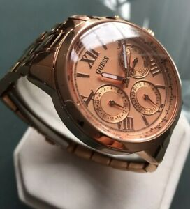 Ladies Genuine Guess Sunshine Day Date Designer Watch Rose Gold Large W0330L2