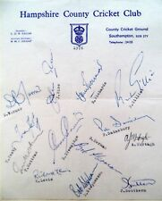 HAMPSHIRE 1976 COUNTY CHAMPIONSHIP – CRICKET OFFICIAL AUTOGRAPH TEAM SHEET