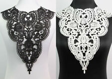 Off White Black Fabric Venice Collar Lace  Polyester Sewing Trim Applique Craft