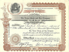 Pennsylvania 1911, The Yeiser Hook & Eye Company Stock Certificate Philadelphia