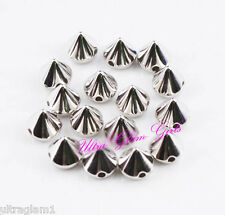 100pc / 10mm EDGY SILVER SPIKES/STUDS SEW-GLUE ON/PLASTIC/RHINESTONES/DRAG QUEEN