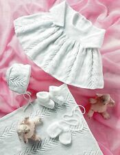 BABY 4 PLY DRESS BONNET BOOTEES BLANKET KNITTING PATTERN (1309)