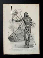 Lithographie originale ancienne, naturel de la nouvelle Guinée, H.R.Schinz, 1845