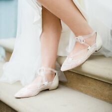 c545439df593 Harriet Wilde BHLDN Lolita Ivory Chantilly Lace Bridal Ballet Flats Size 8  New
