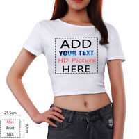 Women Exposed Navel T-Shirt Personalized Customize Crop Tops Tee Clothes Gifts