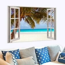 Large 3D Window Beach Sea View Wall Stickers Art Decals Mural Decor Poster