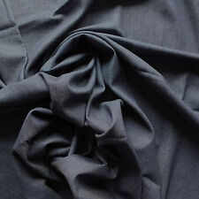 Dark Indigo Blue 100% Cotton Washed 4oz Denim Fabric - Chambray Style, Per Metre