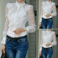 UK Womens O-Neck Long Sleeve Lace Patchwork Ruffles Shirt See Through Top Blouse