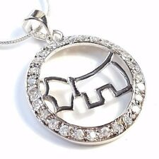 Dog Pendant Cz Circle Yorkie Westie Terrier Puppy Dog .925 Sterling Silver