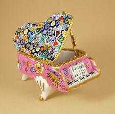 EASTER FRENCH LIMOGES BOX GRAND PIANO MURANO MILLEFIORI VENITIAN ARTGLASS TOP