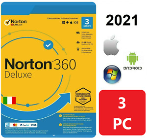 NORTON 360 Deluxe Internet Security 2021 3 PC / Dispositivi 1 ANNO Antivirus IT
