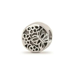 Reflection Beads Sterling Silver Antiqued Flower & Butterfly Design Bead