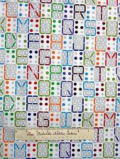 Modern Fabric - Digital Letters Alphabet on White - Timeless Treasures YARD