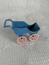 Vintage Allied Plastic Dollhouse Baby Carriage Pram Pink & Blue