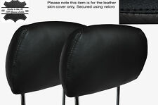 BLACK LEATHER 2X FRONT HEADREST SKIN COVERS FITS HOLDEN ASTRA G MK4 1998-2004