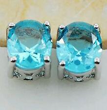 925 Sterling Silver Earrings Aquamarine Gemstone Studs