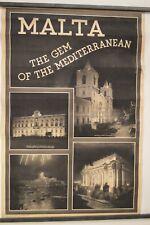 "Originial Vintage 1940's Malta ""Gem of the Mediterranean"" Travel Poster RARE"