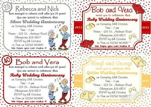 10 Personalised Wedding Anniversary invitations 25/30/40/50/60 ALL YEARS w/env