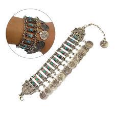 Turquoise Bracelet Women Bohemian Boho Beach Ethnic Jewelry Vintage Coin Bangles