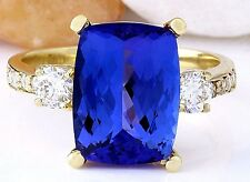 5.85CTW NATURAL TANZANITE AND DIAMOND RING IN 14K YELLOW GOLD