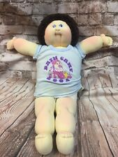 Vtg Cabbage Patch Kid Boy Soft Scupture Little People Doll Brown Hair Blue Eyes
