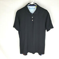 Robert Graham Mens Large Black Short Sleeve Polo Shirt Classic Fit