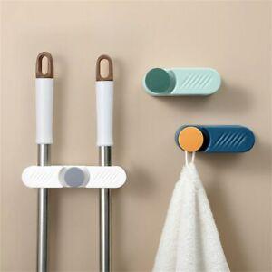 Storage Rack Bathroom Wall Mounted Mop Holder Brush Hook Broom Hanger Organizer